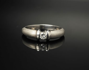 CZ Satin, Matte Finish Sterling Silver Ring Size 8 Vintage