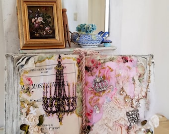 Mixed Media Assemblage Art Collage Art Altered Vintage Book Embellished Romantic Shabby Chic Decor Upcycled Home Decor