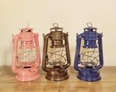 Navy Blue Oil Lantern, Rustic Cabin Decor, Summer Garden Outdoor Party Lighting,  Blue Shabby Chic Centerpiece Idea, Navy Blue Nursery Decor