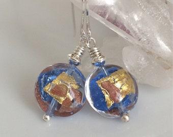 Blue Venetian Glass Earrings   Murano Glass   Light Blue Earrings   Sterling Silver Earrings