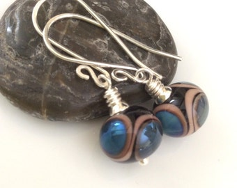 Black and Blue Glass Earrings / Lampwork Glass Earrings / Sterling Silver Earrings / Glass Dangles