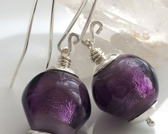 Vintage Glass Earrings / Purple Glass Earrings / Lampwork Glass Earrings / Sterling Silver Earrings