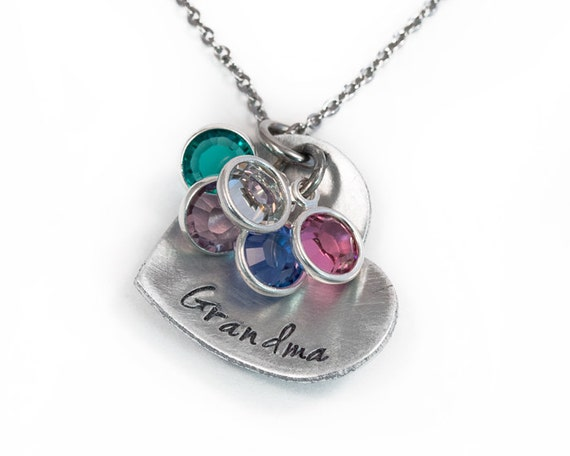 Heart grandma necklace handstamped grandmother necklace for Grandmother jewelry you can add to