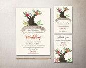 Rustic Wedding Invitation Printable, Deer Wedding Invitation, Spring Wedding Invitation Suite, Printable Wedding Invitation, Woodland