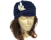 Ladies Turban Hat in Navy Blue Head Wrap Fashion Turban Hats Cloche 20s Hair Accessories Art Deco Hat with Rhinestone Jewellery Gift Idea