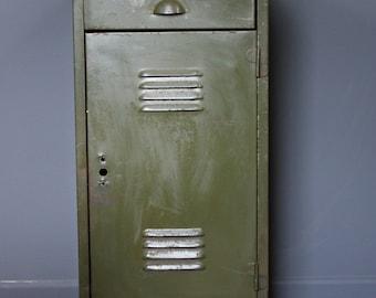 Vintage Industrial British Military Steel Cabinet Circa 1940's
