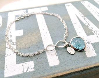 Aquamarine Bracelet Aquamarine Jewelry Aquamarine Gemstone Bracelet March Birthstone Infinity Bracelet Infinity Jewelry monogram bracelet