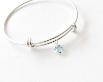 Aquamarine Birthstone Bangle Aquamarine Bangle Personalized bangle March Birthstone Swarovski Birthstone Bangle Silver Bangle Gold Aqua gift