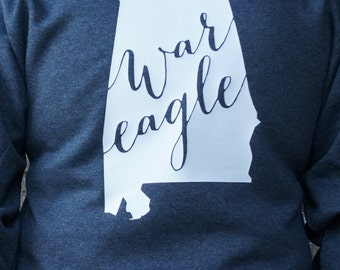 Auburn War Eagle Sweatshirt featuring the state outline - Perfect for any Auburn fan!