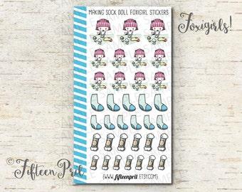 Sock doll foxigirl stickers -J580