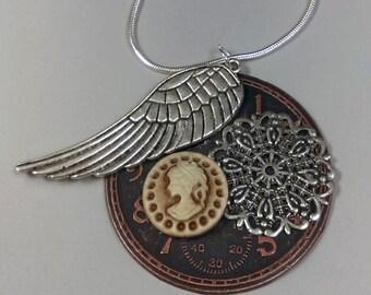 Silver Clockface Cameo Collage Necklace