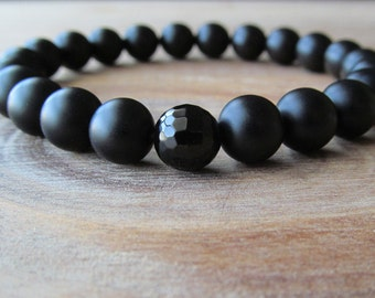 Matte Black Onyx and Faceted Onyx  Bracelet, Stacking Bracelet, Men's Bracelet, Mala Bracelet, Layering Bracelet, Beaded Bracelet, Mens Gift