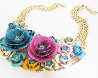 Statement Floral Bib Necklace, Bold and Bright Necklace, Statement Floral Necklace, Colourful Metal Flower Necklace, Chunky Bib Necklace