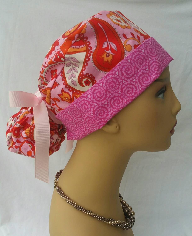 Scrub hat / Scrub hat with ponytail and ribbon / Nurses hats