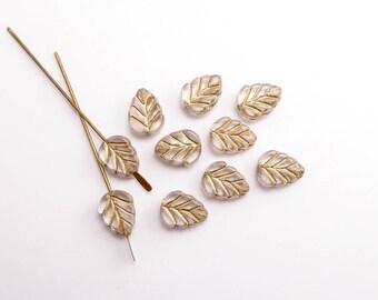 Clear Leaf Czech Glass Beads, (10 pcs) 11x8mm Leaf Beads, Clear Leaf Beads, Gold Leaf Beads, Autumn Beads, Fall Beads, Glass Leaf  LEA0044