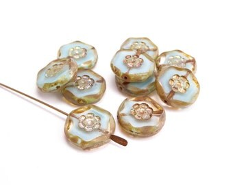 Marbled Pale Blue Coin Czech Glass Beads, (10 pcs) 15mm Blue Coin Beads, Flower Coin Beads, Pale Blue Flower Beads CON0075