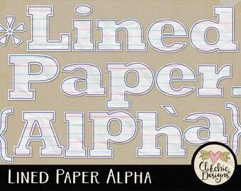 Paper Alpha - Digital Scrapbook Alphabet Clipart - Lined Paper Alpha - Scrapbook Alpha, Digital Alpha, Digital Alphabet, Digital Letters