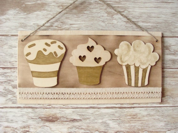 Cupcake muffin wall art sweet decor muffin cup sign by for Cupcake wall art