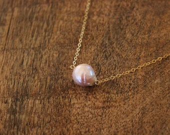 Pink kasumi like pearl necklace / genuine freshwater pearl necklace 14kt gold fill chain