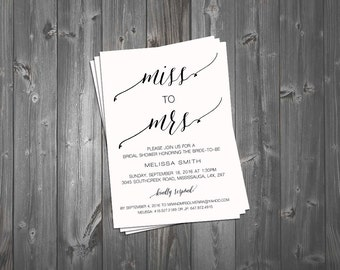 Bridal Shower Invitation, Wedding Shower Invitation, Shower Invitation, Miss to Mrs