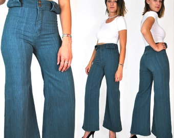 1960s Wide Leg HILLBILLY Pocketless Jeans Women's XS Small Bell Bottom Denim Pants 27 28 Tight High Waisted Blue Jeans Vintage 60s 70s 1970s