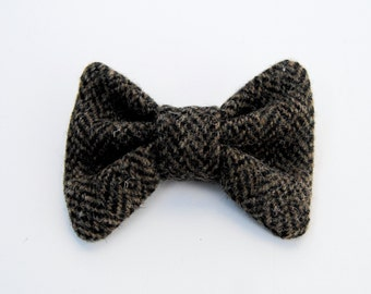 Boys Harris Tweed BowTie, Little Boys BowTie, Upcycled Brown Tweed BowTie,Wool Bow Tie, Bow Ties for Boys, Wedding Bow Tie, Toddler Bow Tie