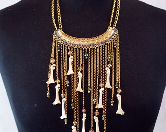 NEW statement pigeon radius drop necklace with crystal beads