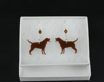Chocolate Lab Laser Cut Earrings with Swarovski Crystals