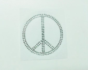 Peace Sign with Silver Rhinestuds Iron On Transfer