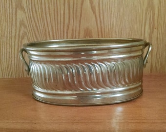 Vintage Brass Planter Oval Container
