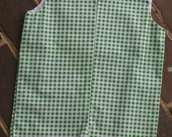 4T Green/White Gingham Boys Jon-Jon/Romper