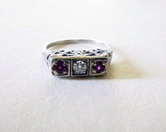 Art Deco filigree three stone diamond ruby antique engagement white gold ring size 7
