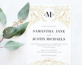 Gold Floral Wedding Invitations - Black and Gold Wedding Invitation - Elegant Gold Invitation - Printable invitation - blushed designs