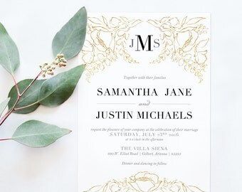 Gold Floral Wedding Invitations - Black and Gold Wedding Invitation - Elegant Gold Invitation - Printable invitation - blushed designs