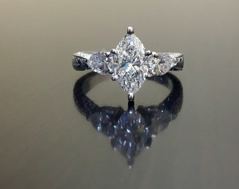 Platinum Art Deco Marquise Diamond Engagement Ring - Art Deco Platinum Diamond Wedding Ring - Diamond Platinum Ring - Diamond Marquise Ring