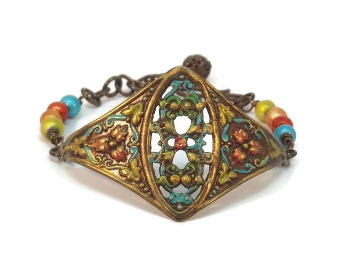 Adjustable Hand Painted Victorian Style Floral Cuff Bracelet, Orange, Turquoise, Red & Yellow, OOAK, One of a Kind
