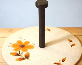 A beautiful French, ironstone cheese plate, with a rosewood handle. Hand painted with an orange flower and leaves.