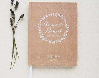 Wedding Guest Book #6 - Custom Hardcover Guest Book - Wedding Guestbook, Personalized Guest Book - Rustic Wreath - Kraft Paper