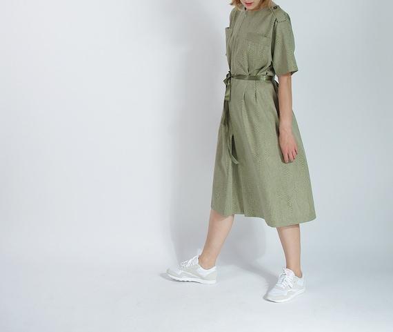 SALE - 70s Atelier Goldner Schnitt Safari Style Retro Dress / Size M/L