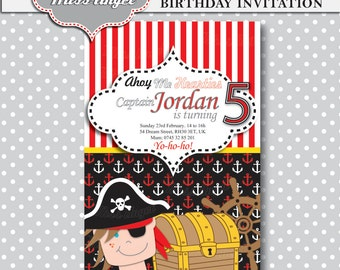 Birthday Pirate's Party Invitation. Boy's Birthday Party Digital Invitation. Pirates party printable, by MissAngelClipArt. Red, black, white