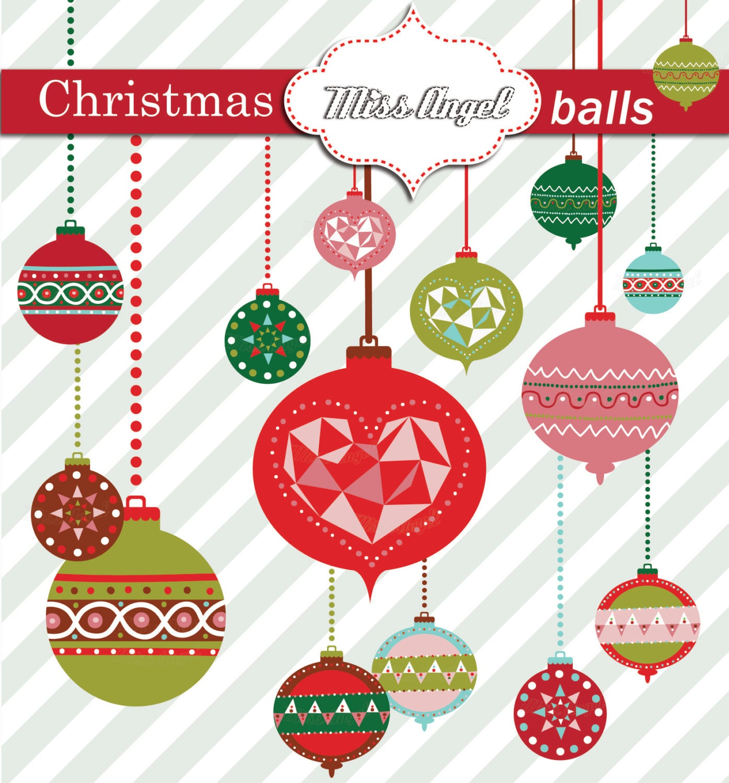 Christmas Balls Clipart Christmas Tree Decor Geometric