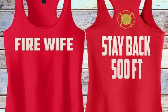 Firefighter's Wife -Warning-//Glitter Racerback Longer Length Tank Top//Fireman// Chief// Love My Firefighter