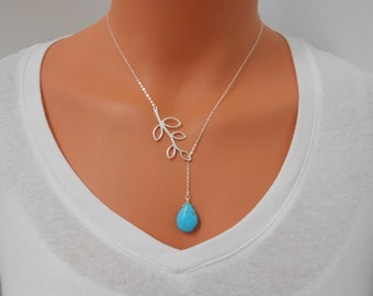 Lariat Necklace - Turquoise Lariat, Silver Necklace, Branch Necklace, Y Necklace, Long Necklace, Layering Necklace, Bridesmaid Gift