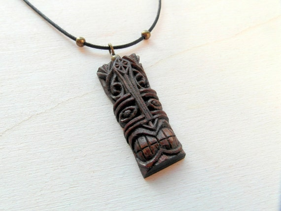 tiki mask pendant number 7 handcarved on cherry by
