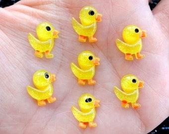 10 pcs - Small Glitter Duck Resin Flatback Cabochon - 14mm - Yellow - Quack - Kitsch - Kawaii - Rubber Duckies - Decoden