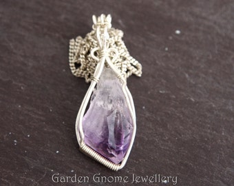 Light Purple Amethyst Sterling Silver Necklace | Wire Wrapped Pendant | Rough Amethyst