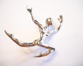 Male Ballet Vintage Brooch Pin Male Ballet Dancer Figural Designer Signed LR A F A Silver Tone Metal Modern Folk