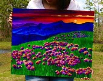 Rainbow Sunset-Soaked Mountain Landscape Embellished Canvas Print