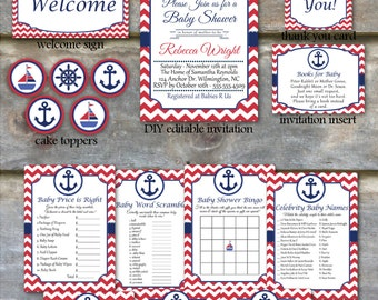 Nautical Baby Shower Party Package - Nautical Shower Package, Printable Baby Shower Package, Beach Baby Shower Package, Ahoy Its a Boy - DIY