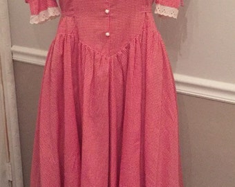 Wendy One Red and White Gingham 50's style dress size 7